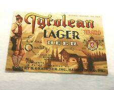 Dated 4/14/38 Irtp Tyrolean Lager Beer Bottle Label Graupner Brg Harrisburg Pa