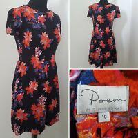 Ladies OLIVER BONAS Poem Dark Floral Dress Sz 10 Black Orange Blue Autumn Tea