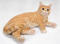 "17"" ORANGE TABBY CAT FIGURINE  STATUE LIFELIKE COLLECTIBLE ANIMAL HOME DECOR"