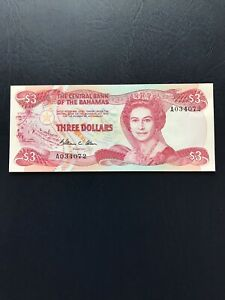Bahamas 3 Dollars Banknote Featuring Portrait Of Queen E2nd.