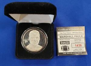 Marshall Faulk 1 ozt .999 Fine Silver Rounds COA