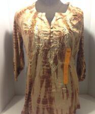 Vintage America Women's Top Sepia Tan Tye-Dye - 3/4 Sleeve - Size Small