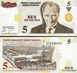 Turkey 5 Ytl / Lira 2005, UNC, P-217, Prefix A Last 333