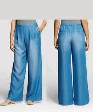 NWT Women Merona Lyocell Pull-on Soft Denim Wide Leg Pants w/elastic X-Small