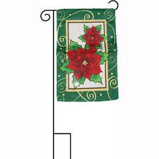 "12x18 12""x18"" Merry Christmas Holiday Poinsettia Sleeved w/ Garden Stand Flag"