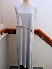 NWT $195 JAMES PERSE SOFT OVERLAY MIDI RUCHED SLEEVELESS DRESS 3 (M-L) GREY