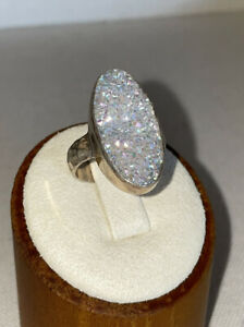 Premium White Druzy Geode Hammered Sterling Silver Ring Size 8