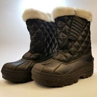Womens Winter Boots Black Size 7 Weatherproof Mid Calf White Faux Fur Lined