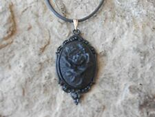 BLACK ROSE CAMEO PENDANT NECKLACE - BLACK SETTING -GOTH, GOTHIC, WITCH, VAMPIRE