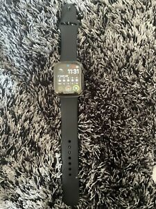 Apple Watch Series 6 44mm Graphite Stainless Steel Case and Black Silicone Band,