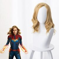 Avengers Captain Marvel Full Wig Cosplay Medium Long Wavy Curly Hair Wig Prop