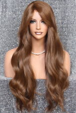 Long  Human Hair Blend Auburn mix wavy Layer Full Wig Bangs Wig NPT 27-4-30