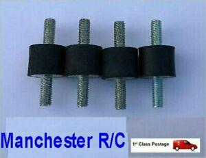 4 x RUBBER MOUNTS 25 dia x 20 long male M6 anti vibration exhaust generator