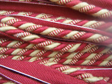FLANGED FABRIC PIPING CORD BURGUNDY RED TRIM DECORATIVE CURTAIN CORD PER METRE