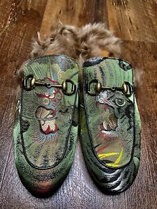 Gucci Green Gold Princetown Dragon Jacquard & Fur Slippers Men's US 11 RTL $895