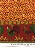 """Happy Harvest Southsea Imports Cockerel  100% Cotton quilting craft Fabric 60"""""""