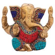 "Small Ganesha Statue Brass Ganesh Amulet Ganpati Idol Religious Decor Gifting 3"""