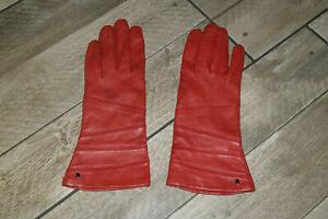 Rote ROECKL Lederhandschuhe mit Seidenfutter  Gr. 7