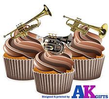 PRECUT trompetas Mix 12 Comestible Cupcake Toppers Decoraciones De Pastel Fiesta de Cumpleaños