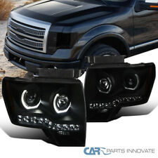 Fit 09-14 Ford F150 Black Smoke LED U-Ring Halo Projector Headlights Head Lamps