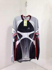 NUCKILY MEN'S LONG SLEEVE CYCLING JERSEY CHARCOAL/WHITE/RED XL NWT