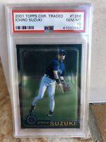 2001 Topps Chrome Traded Ichiro Suzuki RC Rookie #T266 PSA 10 Gem Mint FLAWLESS