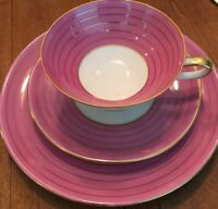 Hutschenreuther Hohenberg Germany Cup, Saucer and Plate. Pink/Gold/White