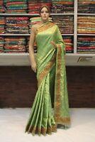 Bollywood Indian Banarasi Brocade Silk Heavy Blouse Saree Sari  Party Wear Dress