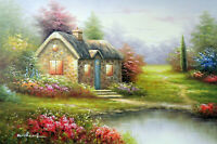 English Home Cottage Flowers Cozy Quaint Bungalow 24X36 Oil Painting STRETCHED