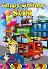 FIREMAN SAM STYLE BALLOONS BIRTHDAY Greeting Birthday Card Son any age