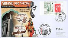"""VA209LT1 FDC KOUROU """"ARIANE 5 Rocket - Flight 209 / ASTRA 2F & GSAT-10"""" 2012"""