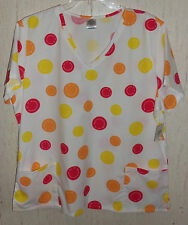 NWT WOMENS SMILEY FACE NOVELTY PRINT SCRUBS TOP   SIZE 3X
