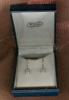 H. STERN SCREWBACK DIAMOND EARRINGS SET IN 14K WHITE GOLD ESTATE ITEM / BOXED