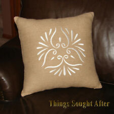 """Hold Everything Woven Silk Embroidered Pillow Sham 18"""" X 18"""" Square Cover"""