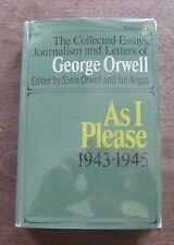 AS I PLEASE by George Orwell  - collected essays HCDJ 1969 1st animal farm 1984