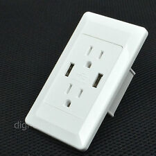 Dual USB Port Wall Charger Station Daul Plug Socket Power Adapter for iphone