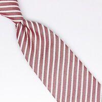 Josiah France Mens Silk Cotton Necktie Red White Seersucker Stripe Weave Tie