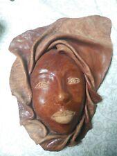 Folk Art Leather Sculpture Mask Art Haunting Vintage Halloween Wood Carving Rare