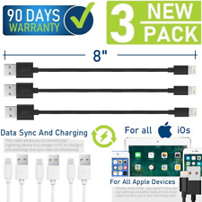 "8"" Short Data Sync/Charging USB Cable for iPad,iPhone 6,7,8,X,XR,XS,11 (3-Pack)"