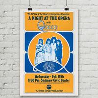 Queen Bohemian Rhapsody Concert Poster Night at the Opera Canvas Art Print 18x27