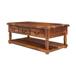 Classic Evergreen Sheesham Solid Wood Coffee Table With 3 Drawer Brown