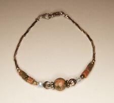 Silver Tone Red Green Unakite Jasper And Blue Glass Bead Bracelet