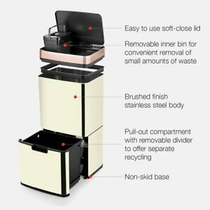 Morphy Richards Pro 977124 Recycling Bin 2 Compartments Ivory And Rose Gold 75L