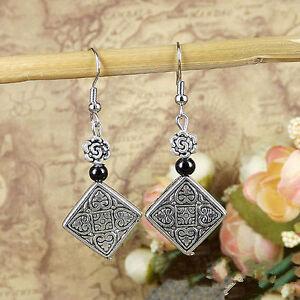 Cute New Tibetan Silver Black Bead & Diamond Shape Charm Dangle Drop Earrings