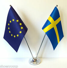European Union EU & Sweden Flags Chrome and Satin Table Desk Flag Set