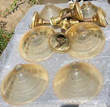 Antique yellowed glass light fixtures