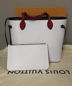 LOUIS VUITTON Epi Neverfull MM White Scarlet  Black Shoulder Bag
