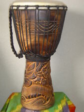 "SALE - 20""  Deep Carved Djembe Bongo Drum DRAGONS M21 + FREE COVER"