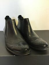 PAUL GREEN BLACK LEATHER SLIP ON BROGUE TRIM CHELSEA BOOTS SIZE 7/40