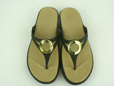 Crocs Dual Comfort Sanrah Sz 5 Brown Beveled Circle Wedge Sandal Flip Flops